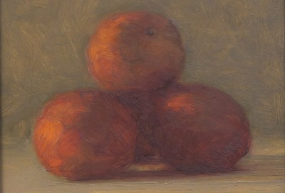 Light Study, Oranges • 8 x 8 Oil on panel $500.00 unframed, $640.00 in Custom dark wood stain frame