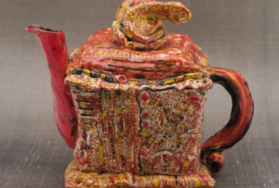 "Wonky Jack in the Box Teapot • 5 1/2"" square / 6 1/2"" high / non-functional • $260.00"