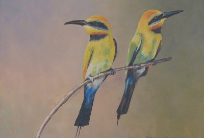 Indian Parrots • 9 x 12 Acrylic on panel $485.00 in gold plein air frame • $400.00 unframed